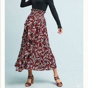 Anthropologie Keshika ruffled midi skirt